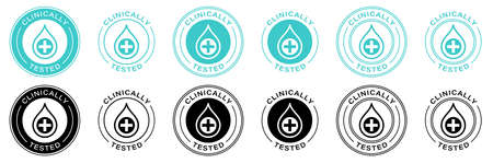 Clinically tested vector drop cross and check icon. Information label. Vector illustration.