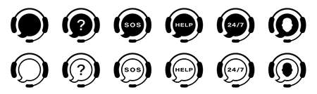 Support service. Vector isolated icons. Customer support black vector icon signs. Call center symbols. Service concept symbols.