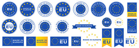 Labeling - Made in Europe. Flat icon isolated on white background. Blue stamp with yellow stars. Vector illustration. Information label. Vector illustration.