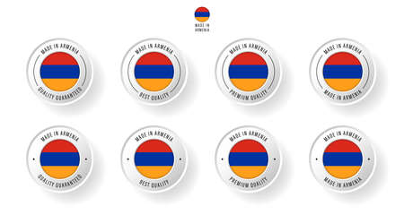 Labeling - Made in Armenia. Flat icon isolated on white background. Vector illustration. Information label. Vector illustration.