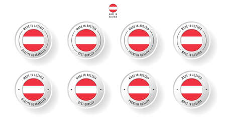 Labeling - Made in Austria. Flat icon isolated on white background. Vector illustration. Information label. Vector illustration.