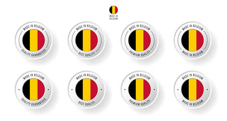 Labeling - Made in Belgium. Flat icon isolated on white background. Vector illustration. Information label. Vector illustration.  イラスト・ベクター素材