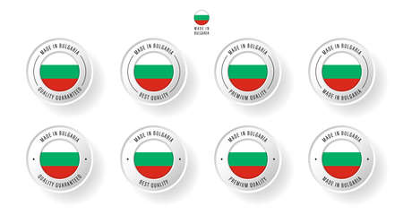 Labeling - Made in Bulgaria. Flat icon isolated on white background. Vector illustration. Information label. Vector illustration.