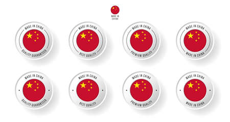 Labeling - Made in China. Flat icon isolated on white background. Vector illustration. Information label. Vector illustration.