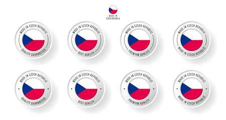 Labeling - Made in Czech Republic. Flat icon isolated on white background. Vector illustration. Information label. Vector illustration.