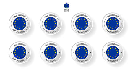 Labeling - Made in Europe. Flat icon isolated on white background. Vector illustration. Information label. Vector illustration.