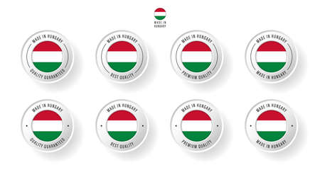 Labeling - Made in Hungary. Flat icon isolated on white background. Vector illustration. Information label. Vector illustration.