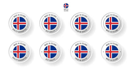 Labeling - Made in Iceland. Flat icon isolated on white background. Vector illustration. Information label. Vector illustration.