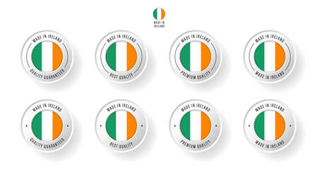 Labeling - Made in Ireland. Flat icon isolated on white background. Vector illustration. Information label. Vector illustration.