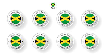 Labeling - Made in Jamaica. Flat icon isolated on white background. Vector illustration. Information label. Vector illustration.