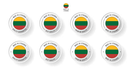 Labeling - Made in Lithuania. Flat icon isolated on white background. Vector illustration. Information label. Vector illustration.