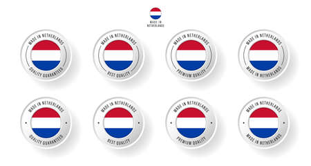 Labeling - Made in Netherlands. Flat icon isolated on white background. Vector illustration. Information label. Vector illustration.