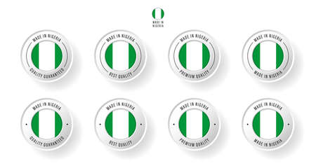 Labeling - Made in Nigeria. Flat icon isolated on white background. Vector illustration. Information label. Vector illustration.