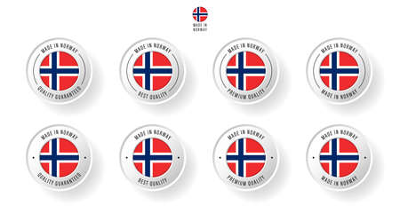 Labeling - Made in Norway. Flat icon isolated on white background. Vector illustration. Information label. Vector illustration.  イラスト・ベクター素材