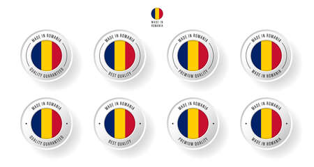 Labeling - Made in Romania. Flat icon isolated on white background. Vector illustration. Information label. Vector illustration.