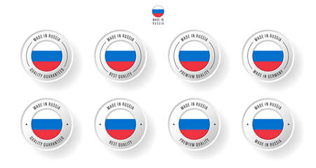 Labeling - Made in Russia. Flat icon isolated on white background. Vector illustration. Information label. Vector illustration.