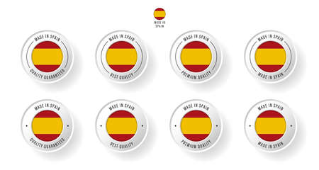 Labeling - Made in Spain. Flat icon isolated on white background. Vector illustration. Information label. Vector illustration.  イラスト・ベクター素材