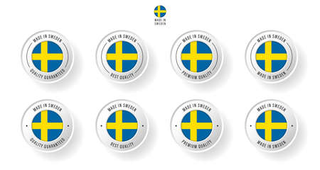 Labeling - Made in Sweden. Flat icon isolated on white background. Vector illustration. Information label. Vector illustration.