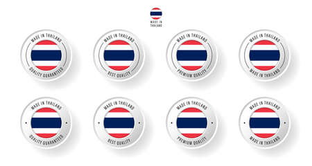 Labeling - Made in Thailand. Flat icon isolated on white background. Vector illustration. Information label. Vector illustration.