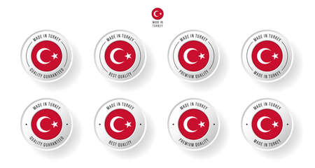 Labeling - Made in Turkey. Flat icon isolated on white background. Vector illustration. Information label. Vector illustration.