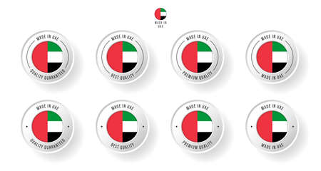 Labeling - Made in United Arab Emirates. Flat icon isolated on white background. Vector illustration. Information label. Vector illustration.  イラスト・ベクター素材
