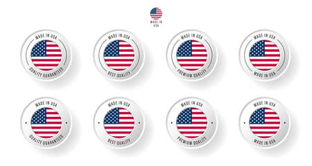 Labeling - Made in United States of America. Flat icon isolated on white background. Vector illustration. Information label. Vector illustration.  イラスト・ベクター素材