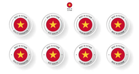 Labeling - Made in Vietnam. Flat icon isolated on white background. Vector illustration. Information label. Vector illustration.