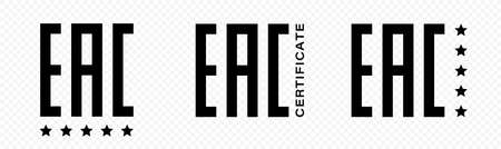 EAC - Marking mark of compliance with the requirements of all technical regulations of the Customs Union and the Eurasian Economic Union. Eurasian Conformity. Certificate vector icon.