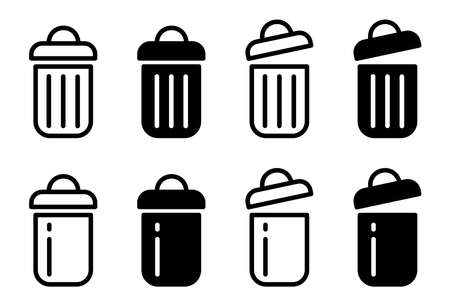Flat linear design. Trash can isolated icons. Black and white open and closed trash can. Vector illustration.