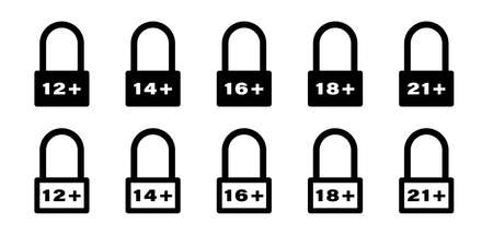 Flat linear design. Set of age restriction signs. Age limit concept. Vector illustration.