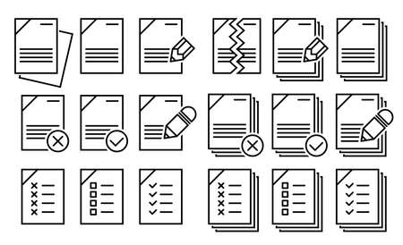 Document vector icon isolated vector graphic. Paper document page icon vector element. Agreement file symbol.