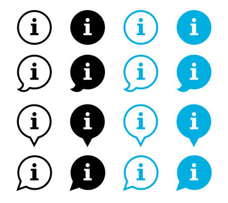 Information vector icons isolated on white background. Black bubbles pointers information icons signs. Information info simple vector icon.  イラスト・ベクター素材
