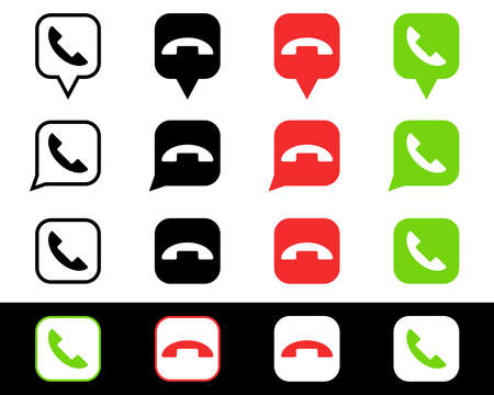 Phone icon. Chat bubble icon. Vector isolated elements. Black, green, red button in the smart phone. Stock vector.  イラスト・ベクター素材