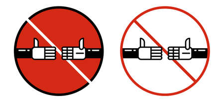 Handshake forbidden sign. No collaboration sign on white background. No dealing icon.