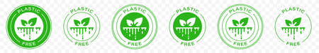 Plastic free. 100% Biodegradable and compostable icon. Round green and black symbol .. Information label. Ilustracja