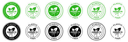 Plastic free. 100% Biodegradable and compostable icon. Round green and black symbol. Information label illustration. Ilustracja