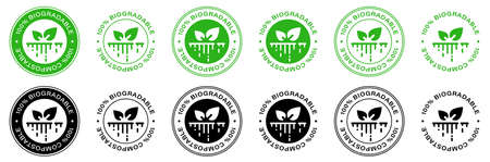 Plastic free. 100% Biodegradable and compostable icon. Round green and black symbol. Information label. Ilustracja