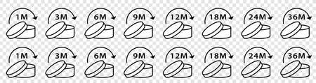Open cosmetic cream sign. The shelf life of the product after opening the package in months. Flat line symbol - PAO. Information sticker.  イラスト・ベクター素材