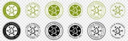 Stamp, sticker - Cold pressed natural oil. Information sign. Vector  イラスト・ベクター素材