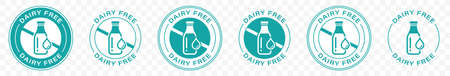 Dairy free vector or badge template. Suitable used for stamp or product label. Information label. Vector illustration.