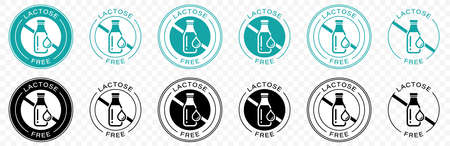 Lactose free vector or badge template. Suitable used for stamp or product label. Information label. Vector illustration.  イラスト・ベクター素材