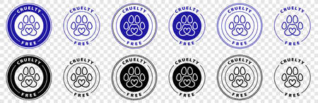 No animals testing sign icon. Not tested symbol. Stars stickers. Certificate emblem labels. Vector