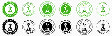 Green mark for product labeling - organic ingredients. Information label. Vector illustration.  イラスト・ベクター素材
