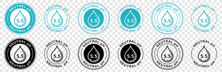 Neutral pH balance logo icon for shampoo or cream. Ph sign with drop. Information label. Vector illustration.