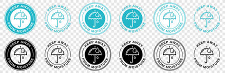 Product labeling - Protect from moisture or keep dry. Umbrella with drops in a round stamp. Information sticker for packaging. Vector illustration