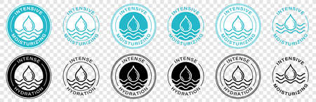 A stamp for packaging cosmetic products. Marking - Intensive hydration. Information label. Vector illustration.