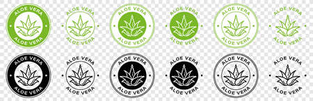 Aloe Vera green leaf label for natural organic product package. Aloe Vera leaf circle icon sign for cosmetic or moisturizer cream and skincare lotion packaging design template. Vector illustration.