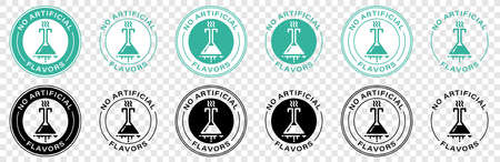 No artificial flavors and dyes icon for skin and body cosmetic or food and drink. Vial test vector symbol for no artificial flavor chemicals. Information label. Vector illustration.