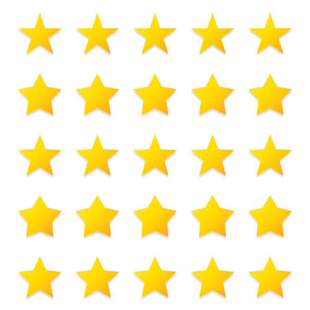5 gold stars quality rating icon. Five yellow star product quality rating. Golden star vector icons. Stars in modern simple with shadow. Vector illustration. Illustration