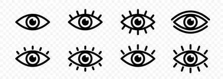 Eye icon set. Eyesight symbol. Retina scan eye icons. Simple eyes collection. Eye silhouette. Vector illustration